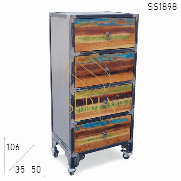 SS1898 Suren Space Metallo Recuperato Legno Quattro Cassetti Design