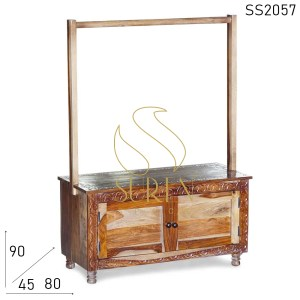 SS2057 Suren Space Hand Carved Indian Wood Hotel Room Luggage Rack