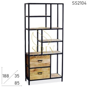 SS2104 Suren Space Two Drawers Metal Wood Open Bookcase Cum Display Unit