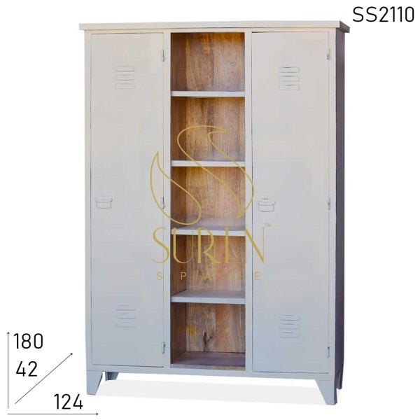 SS2110 Suren Space White Distress Solid Wood Open Wardrobe Cum Display Rack