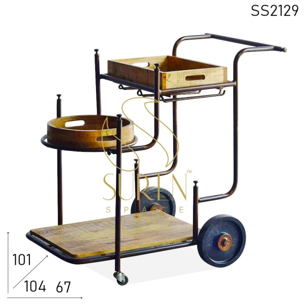 SS2129 Suren Space Solid Wood Hand Crafted Wheel Base Trolley Design