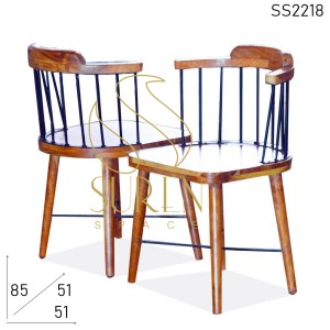 SS2218 Suren Space Metal Wooden Curved Solid Wood Chair