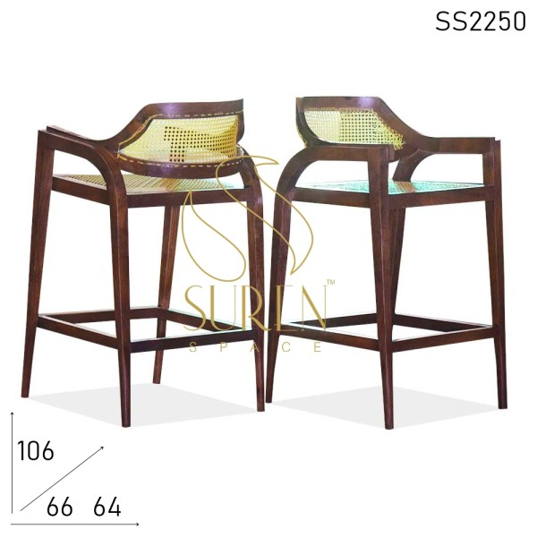 SS2250 Suren Space Natural Cane Solid Wood Bar Chair