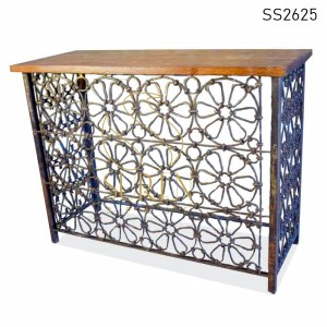 SS2625 Suren Space Bent Metal Rustic Finish Console Table