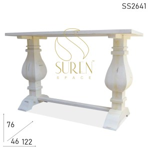SS2641 Suren Space White Distress Carved Leg Wooden Console Table