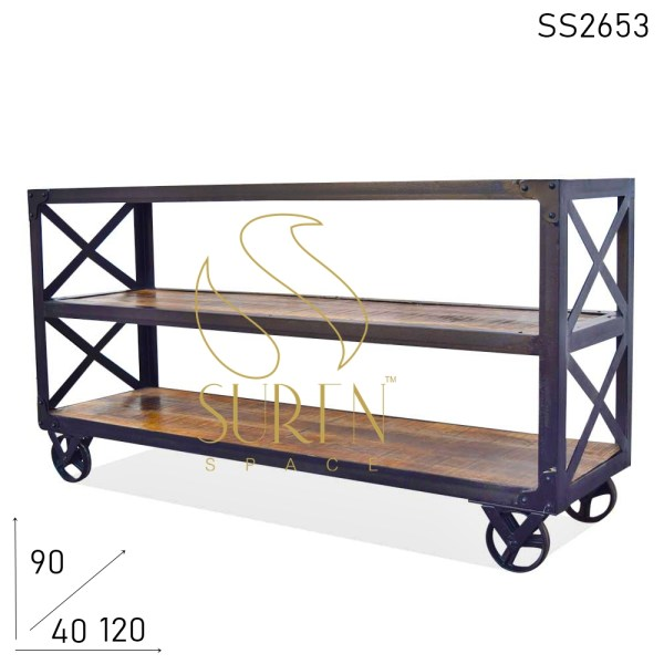 SS2653 Suren Space Solid Wood Metal Structure Wheel Base Console Table