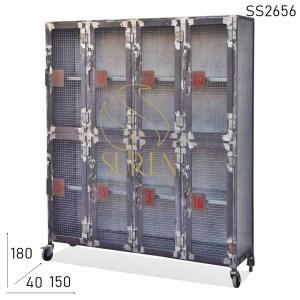 SS2656 Suren Space Metal Natural Finish Mesh Design Iron Cabinet