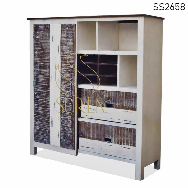 SS2658 Suren Space White Distress Dual Shade Hospitality Cabinet