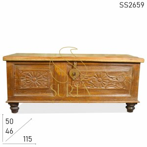 SS2659 Suren Space Hand Carved Old Wood Indian Trunk Design