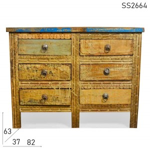 SS2664 Suren Space Carved Six Drawer Recycled Wood Drawer Chest