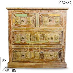 SS2667 Suren Space White Distress Multi Drawer Recycled Wood Drawer Chest