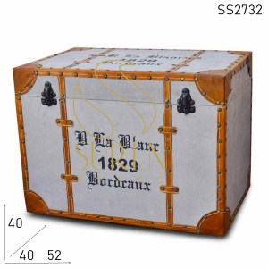 SS2732 Canvas Leather Printed Pouf Box