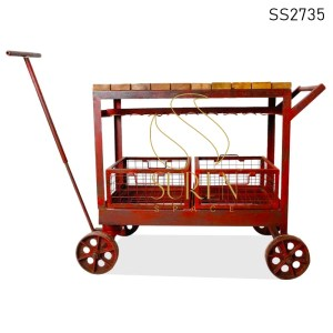 SS2735 SUREN SPACE Red Metal Solid Wood Casting Trolley