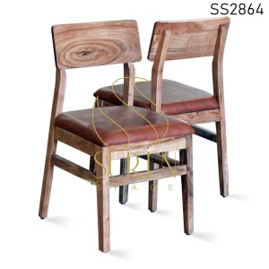 Acacia Wood Leatherette Seating Dining Chair