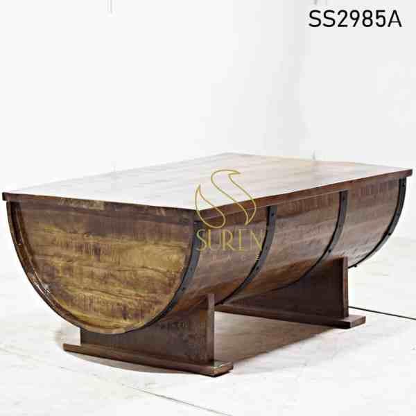 Barrel Design MS Walnut Finish Center Table Design