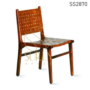 Brown Leather Solid Wood Dining Chair