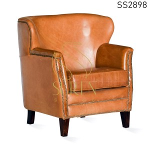 Buff Leather Export Quality Single Seater Sofa