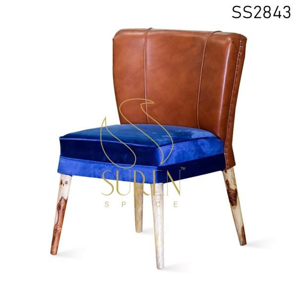 Duel Shade Velvet Leatherette Fine Dining Chair