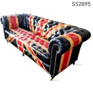 Flag Design Pure Leather Tufted Chesterfield Sofa