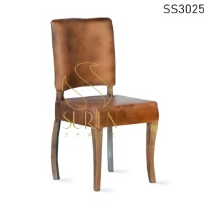Goat Leather Curved Solid Wood Dining Chair