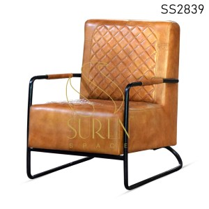 Goat Leather Hotel Room Living Room Rest Chair