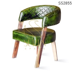 Green Distress Genuine Leather Unique Dining Chair