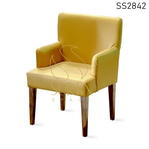 Leatherette Wooden Frame Fine Dining Chair