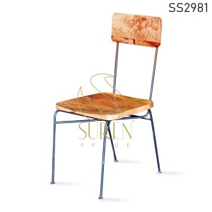 MS Metal Solid Wood Seat & Back Industrial Dining Chair