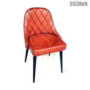 Pure Leather Metal Leg Upholstered Dining Chair