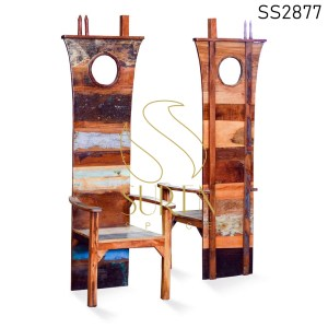 Reclaimed Wood Boat Theme High Back Dining Chair