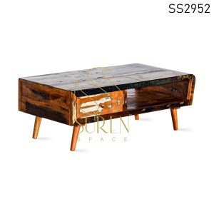Reclaimed Wood One Drawer Center Table
