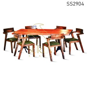 Solid Mango Wood Casting Table Six Seater Dining Set