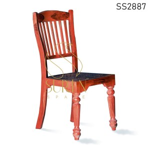 Teak Finish Solid Carved Wood Indian Dining Chair
