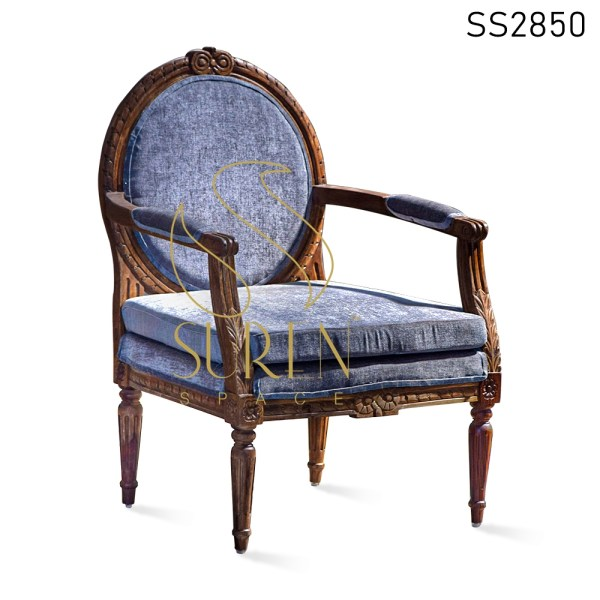 Wood Finish Carved Pattern Fine Finish Accent Chair