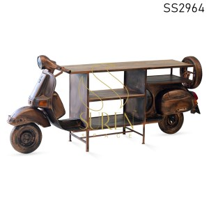 Antique Finish Scooter Design Display Cabinet