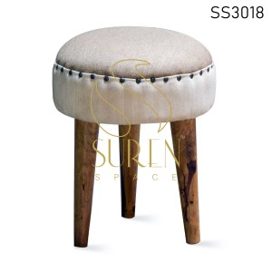 Duel Fabric Round Shape Wooden Legs Pouf Stool