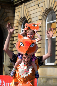 Accrington Biggest Weekend Parade - Rebbecca J Golden (3) with her dad Martim Golden ready to take part in the parade