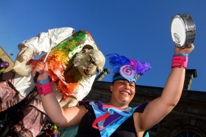 Accrington Biggest Weekend Parade - Donna Moss of Suco Samba ready to take part in the parade