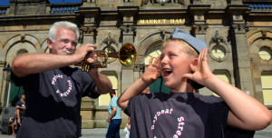 Accrington Biggest Weekend Parade - Baybeat Streetband members (l-r) Loz Kay and Riley Payne (8)