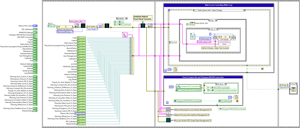 Sample LabVIEW Block Diagram - Pressure Test System for Gas Bottles and Containers used in Space vehicles, Satellites and Launch Vehicles