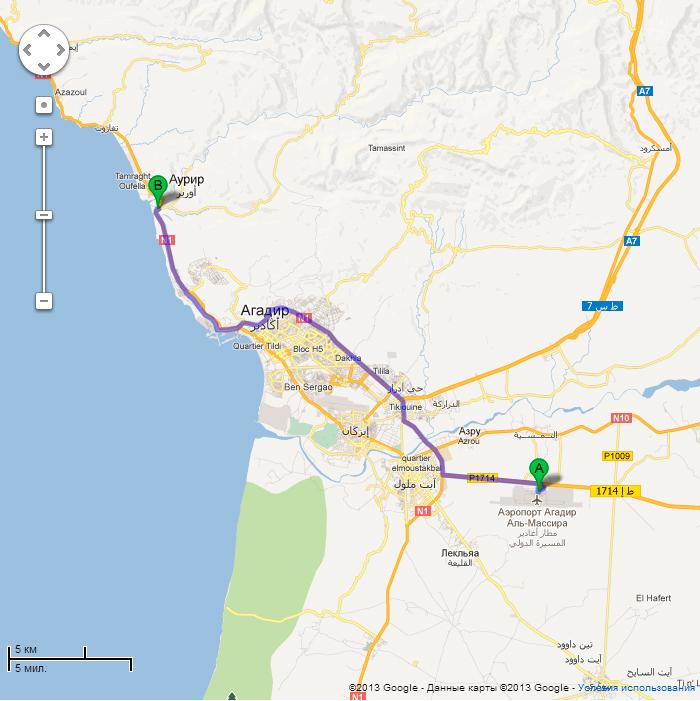 Карта из Агадира до школы серфинга