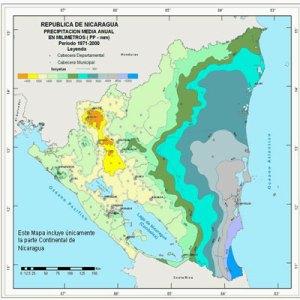 Cartes des précipitations du Nicaragua. Climat du Nicaragua. Partir au Nicaragua. Voyager au Nicaragua. Amérique centrale. Amérique Latine