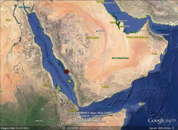 Location of Wadi Dabsa in the Arabian Peninsula (Image: Google Earth)