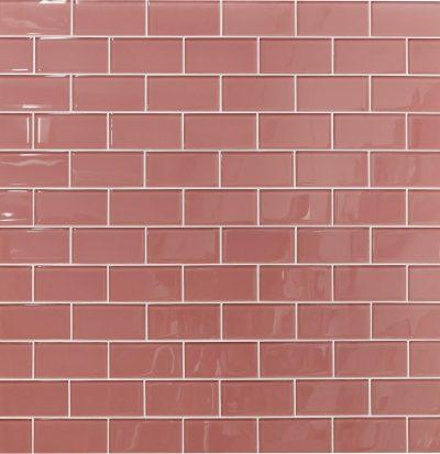 pink glass subway tile