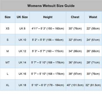 Thermal Swimming Wetsuit size chart