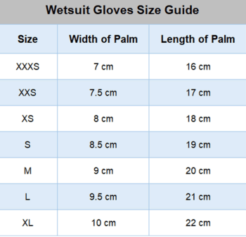 winter swimming gloves size chart