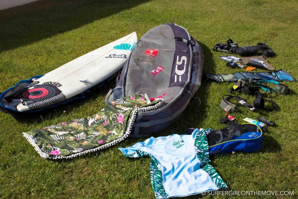 A mala da prancha de surf