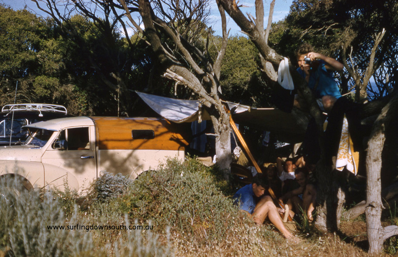 1958 Yalls camp site Barry 'Joe' King's Morris Minor ute - Brian Cole pic img145