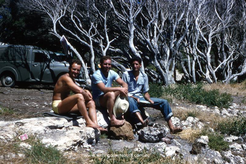 1956-57 Yalls lookout Keith Kino, John Abbott & Bernie Huddle - John Budge pic img565A