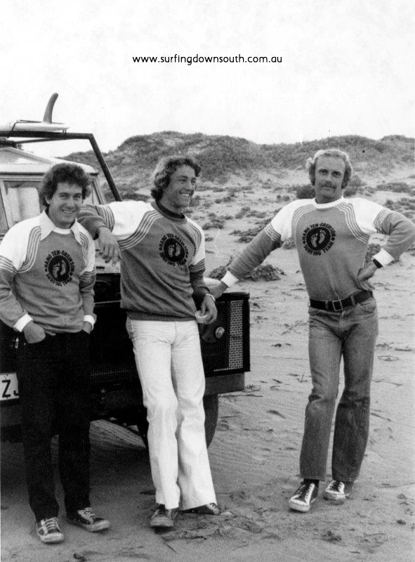 1975 Trigg Point Pro comp Bruce Hocking, Adrian Wilson & Randell Owens - Greirson Surfboards pic IMG_0006B